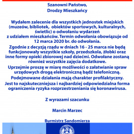 Komunikat Burmistrza Sandomierza w sprawie odwołania wydarzeń kulturalnych