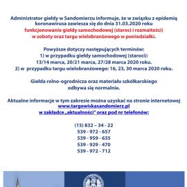 Komunikat Administratora giełdy w Sandomierzu