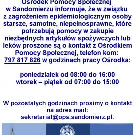 Komunikat Ośrodka Pomocy Społecznej w Sandomierzu