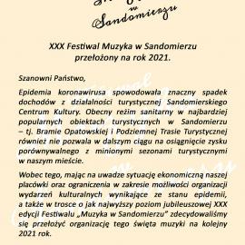 XXX Festiwal Muzyka w Sandomierzu przełożony na rok 2021