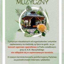 Letni Ogród Muzyczny - zmiana terminu